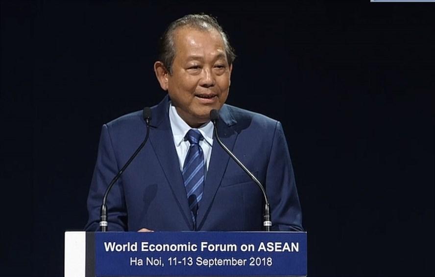 Phó Thủ tướng Thường trực Trương Hòa Bình phát biểu tại phiên bế mạc WEF ASEAN 2018. Ảnh: PV