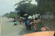 Một trung úy CSGT bị người vi phạm đâm xe phải nhập viện