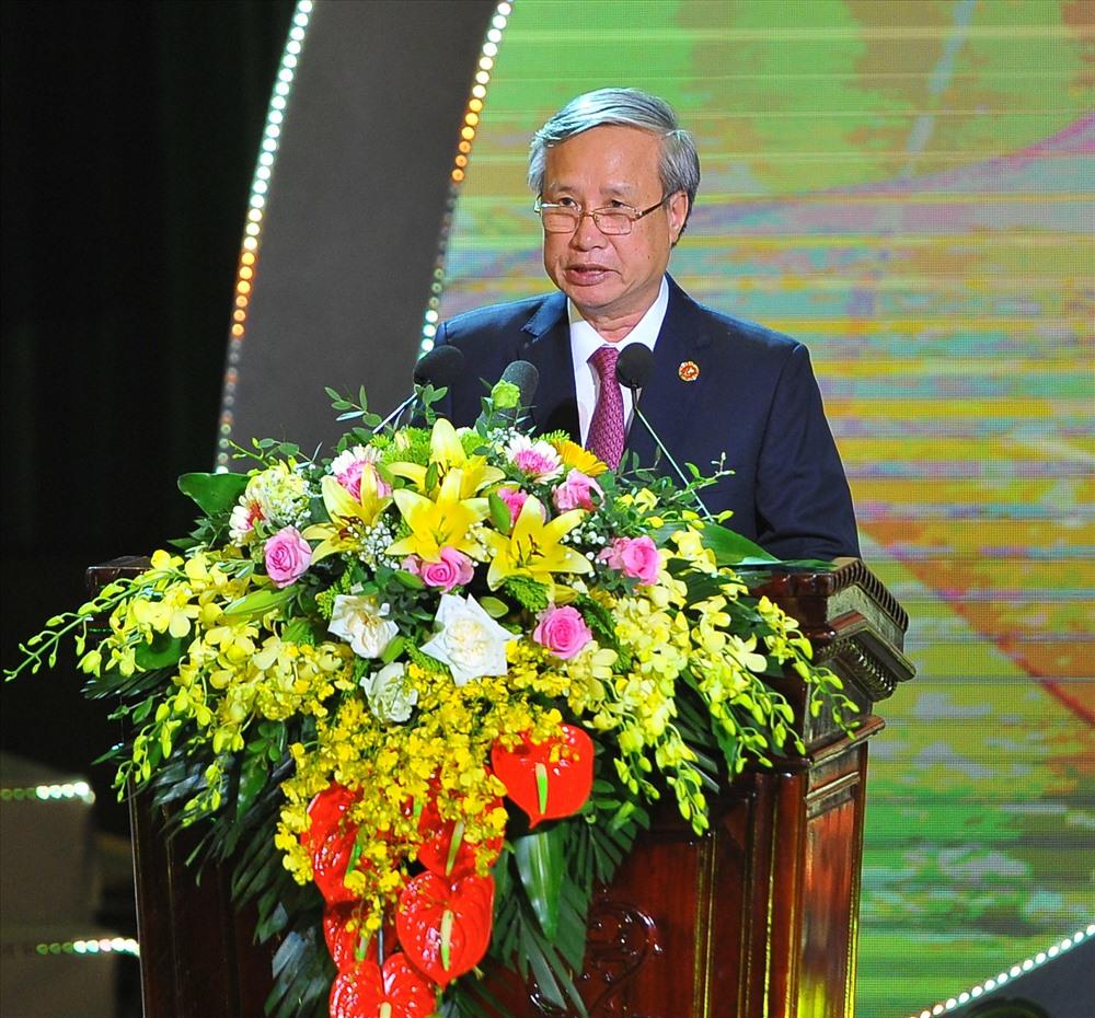 Ủy viên Bộ Chính trị, Thường trực Ban Bí thư Trần Quốc Vượng phát biểu tại Lễ kỷ niệm. Ảnh: NT