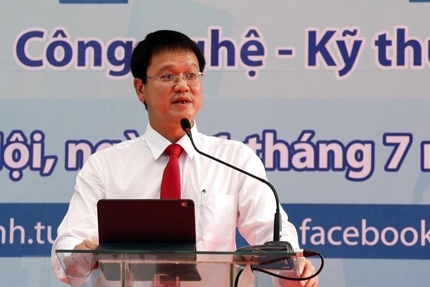 Thứ trưởng Lê Hải An trong một sự kiện về tuyển sinh diễn ra vào tháng 7 năm 2019.