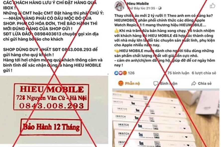 """Trang facebook """"Hieu Mobile"""" lừa đảo được Công an Hà Nội thông báo."""