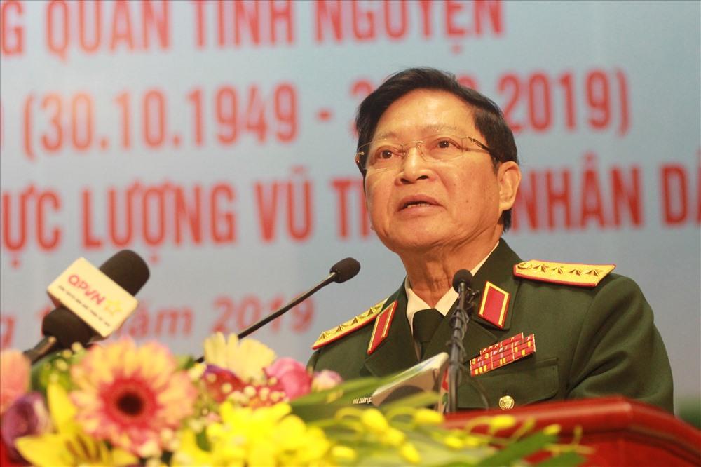 Đại tướng Ngô Xuân Lịch - Ủy viên Bộ Chính trị, Bộ trưởng Bộ Quốc phòng đọc diễn văn tại lễ kỷ niệm. Ảnh T.Vương