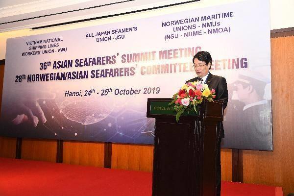 Chủ tịch công đoàn Tổng công ty Hàng Hải Việt Nam Lê Phan Linh phát biểu tại hội nghị. Ảnh: HH