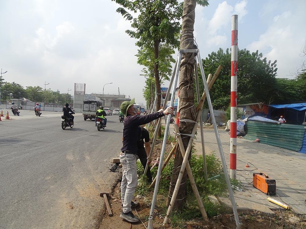 Hai vỉa hè bên đường đang được trồng cây xanh và làm trụ giữ cây cho chắc chắn. Dự án được kỳ vọng sẽ giảm bớt tình trạng ùn tắc giao thông trên tuyến Phạm Văn Đồng, các nút giao phức tạp có lưu lượng lớn như Hoàng Quốc Việt, Cổ Nhuế