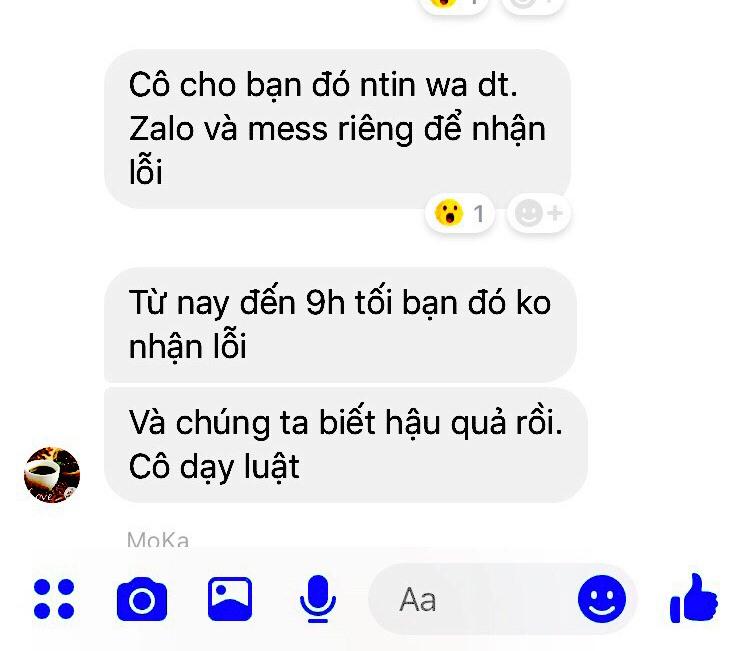 Tin nhắn cô Truyền cho học sinh biết mình là người dạy luật. Ảnh: TM