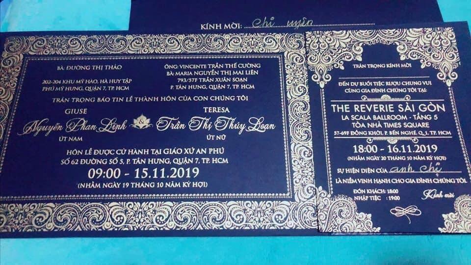 Theo thông tin ghi trên thiệp cưới, đám cưới Bảo Thy sẽ diễn ra tối ngày 16.11 tại Thành phố Hồ Chí Minh, trước đó cô cùng vị hôn phu làm lễ ở nhà thờ trước sự chứng kiến của người thân, bạn bè.