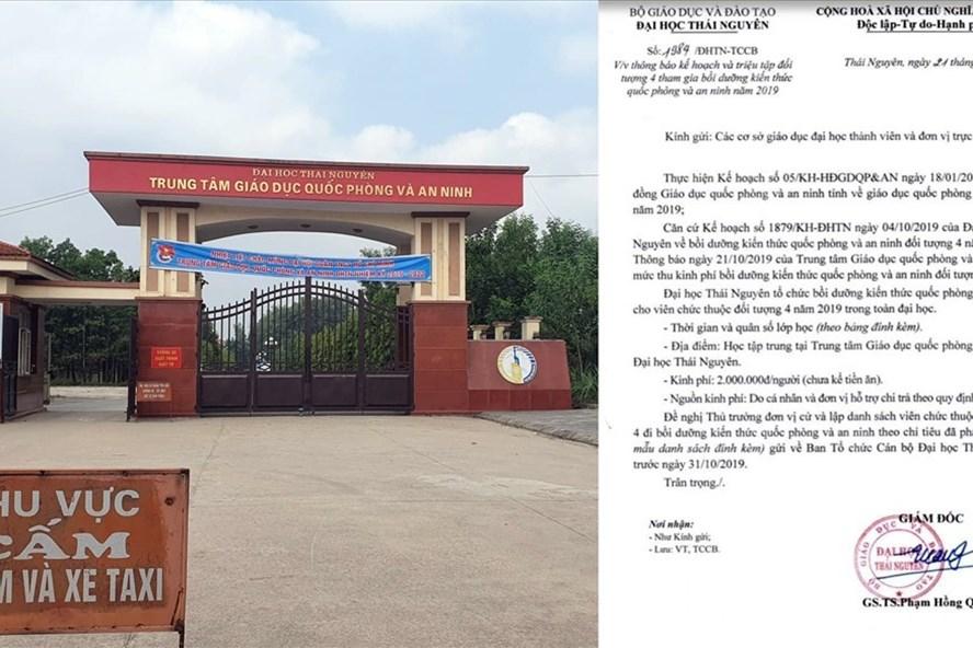 Trung tâm Giáo dục Quốc phòng và An ninh (Đại học Thái Nguyên) và văn bản thu 2 triệu đồng gây xôn xao của Trung tâm này.