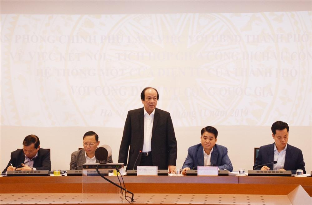 Bộ trưởng, Chủ nhiệm VPCP Mai Tiến Dũng phát biểu tại buổi làm việc. Ảnh: VGP/Gia Huy