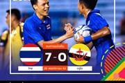 """U22 Thái Lan """"trút giận"""" bằng chiến thắng 7-0 trước U22 Brunei"""