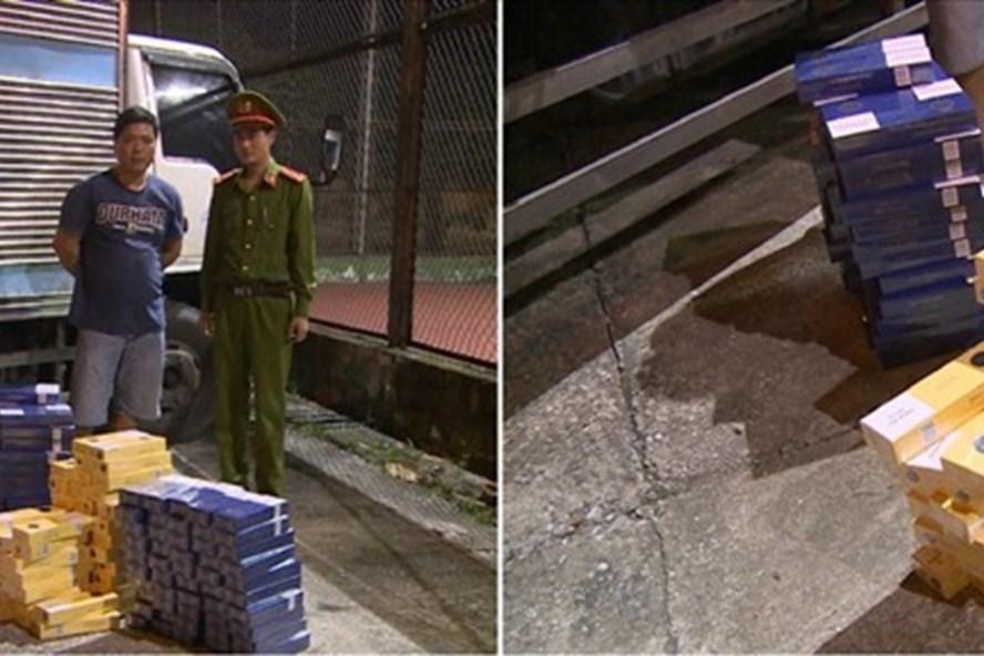 Lực lượng chức năng tỉnh Thái Bình thu giữ toàn bộ thuốc lá nhập lậu. Ảnh CTV