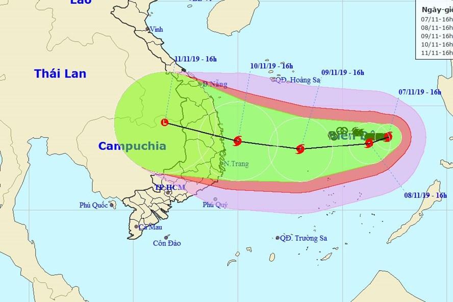 Đường đi của bão số 6 Nakri. Nguồn:  Trung tâm Dự báo khí tượng thuỷ văn quốc gia