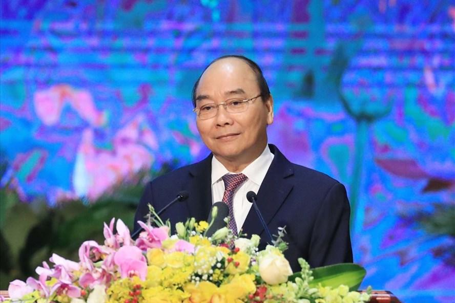 Thủ tướng Nguyễn Xuân Phúc phát biểu tại lễ kỷ niệm. Ảnh: VGP/Quang Hiếu