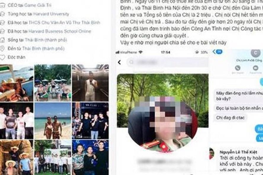 """Tài xế Hân bức xúc đưa câu chuyện bị nữ trung tá Vũ Thùy L """"ăn quỵt"""" tiền thuê xe chở dịch vụ lên trang Facebook cá nhân. Ảnh: PV"""
