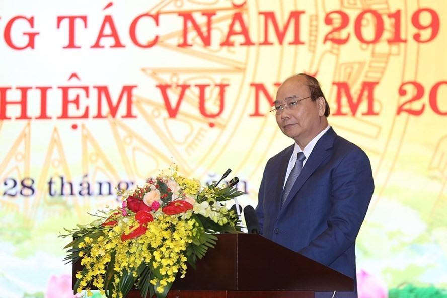 Thủ tướng Chính phủ Nguyễn Xuân Phúc tại Hội nghị tổng kết của Bộ TTTT diễn ra ngày 28.12. Ảnh: LN.