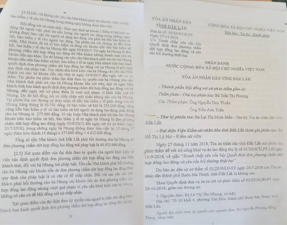 TAND tỉnh Đắk Lắk tuyên Nhà khách Tỉnh ủy bồi thương 45 triệu cho bà Nhung vì ra quyết định chấm dứt hợp đồng trái quy định.
