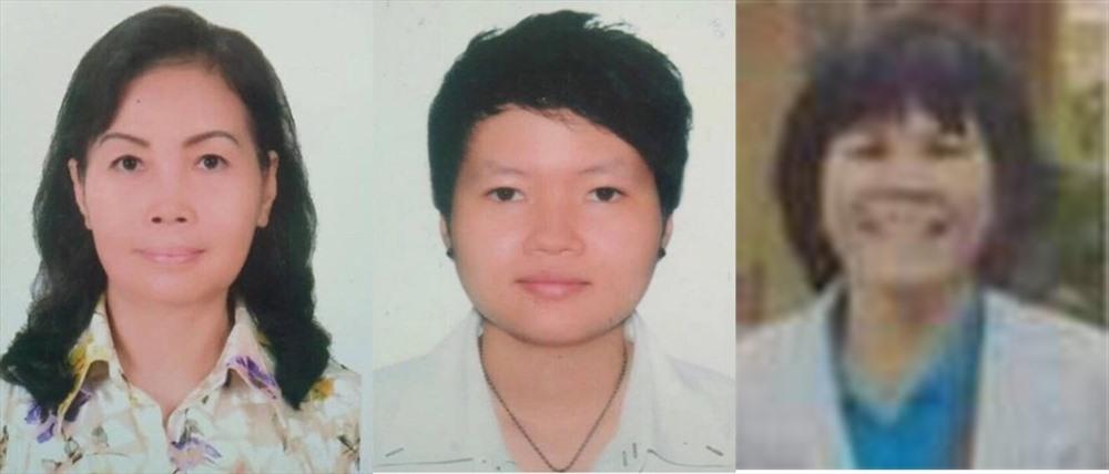 Ba người phụ nữ liên quan tới vụ án từ trái qua: Trịnh Thị Hồng Hoa, Phạm Thị Thiên Hà và Lê Phú Hạnh.