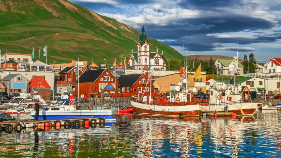 Arctic Coast Way, Iceland: Away from the crowds of Iceland's Golden Circle attractions, there's the peaceful Arctic Coast Way route, including a stopover in the historic town of Husavik, pictured. canadastock/Shutterstock