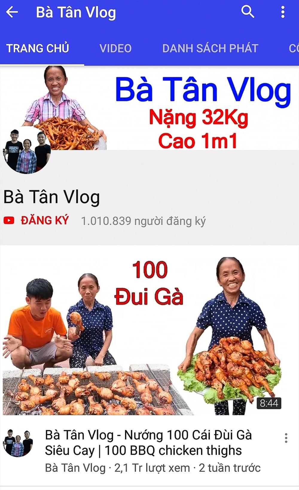 Sau hai tuần đăng tải clip lên nền tảng mạng xã hội Youtube, Bà Tân Vlog nhận về hơn 1 triệu người đăng kí theo dõi.