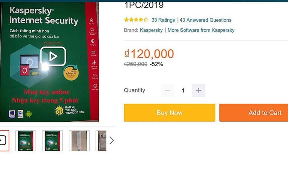 Một thẻ phần mềm bảo mật giả được rao bán trên sàn thương mại điện tử với giá giảm 52%.