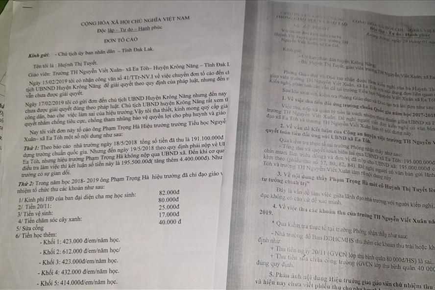 Bà Tuyết tố cáo lãnh đạo nhà trường lạm thu trong năm học vừa qua. Ảnh Hữu Long