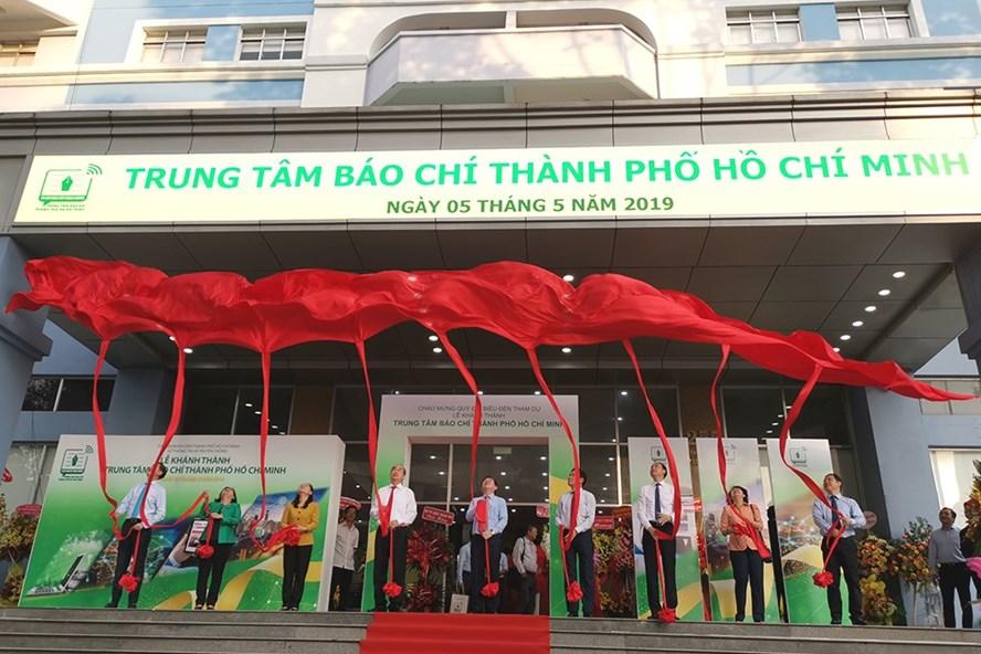 Lễ cắt băng khánh thành Trung tâm Báo chí TP.HCM chiều ngày 5.5.2019 (ảnh: PK).