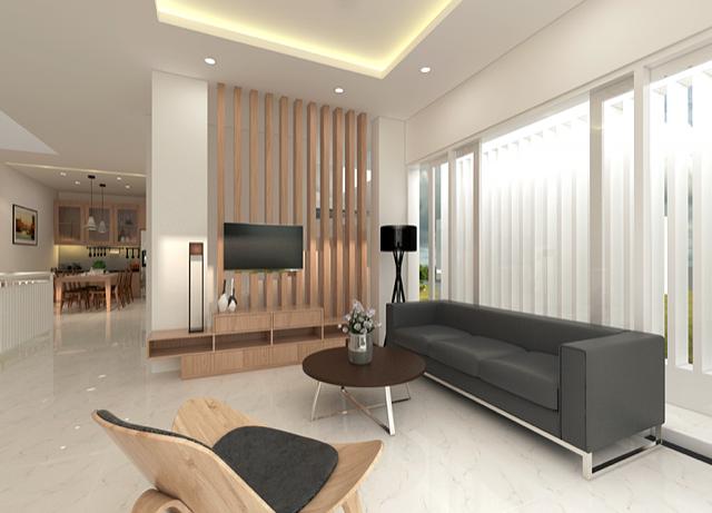 Tầng trệt được để trống toàn bộ, ở đây gia chủ dùng làm nơi để xe cho gia đình hoặc có thể dùng làm nơi tổ chức tiệc khi cần thiết. Trong khi đó, phòng khách thiết kế rộng thoáng với nội thất đơn giản.