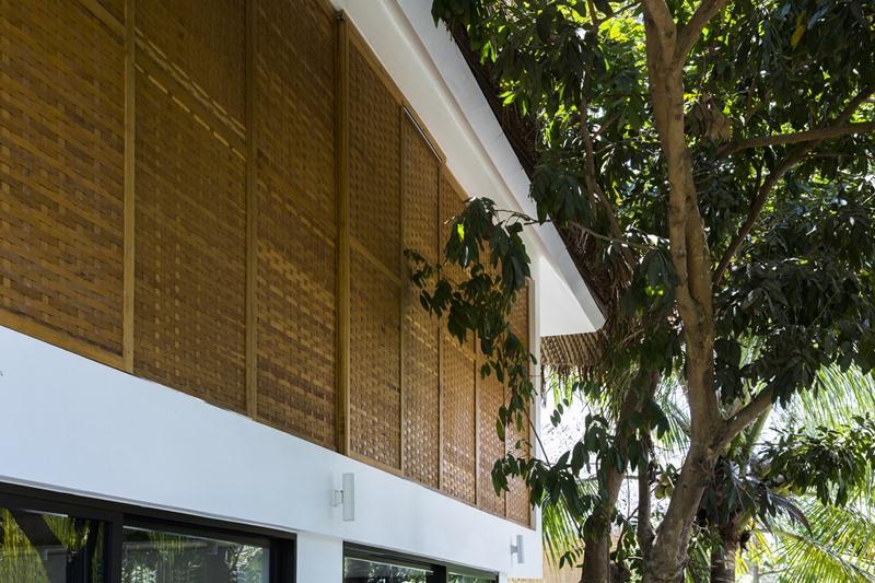 Cây ăn trái và cây nhiệt đới trồng xung quanh nhà tỏa bóng mát cho khu vực hồ bơi và sân vườn.