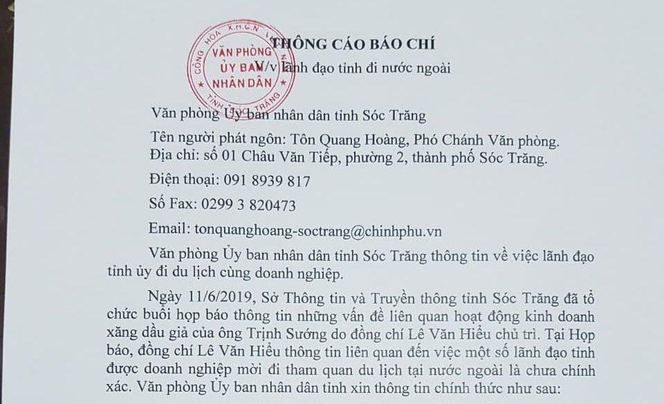 Thông cáo báo chí do người phát ngôn UBND tỉnh Sóc Trăng phát hành thể hiện phát biểu của Phó chủ tịch UBND tỉnh Sóc Trăng Lê Văn Hiểu là chưa chính xác (ảnh Nhật Hồ)
