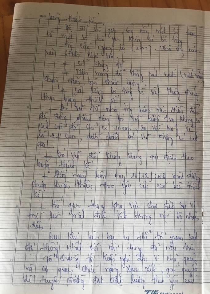Một phần nội dung biên bản giám sát cộng đồng kiến nghị chính quyền xử lý nhà thầu của người dân xã Vĩnh Thịnh, huyện Hòa Bình, Bạc Liêu (ảnh Nhật Hồ)