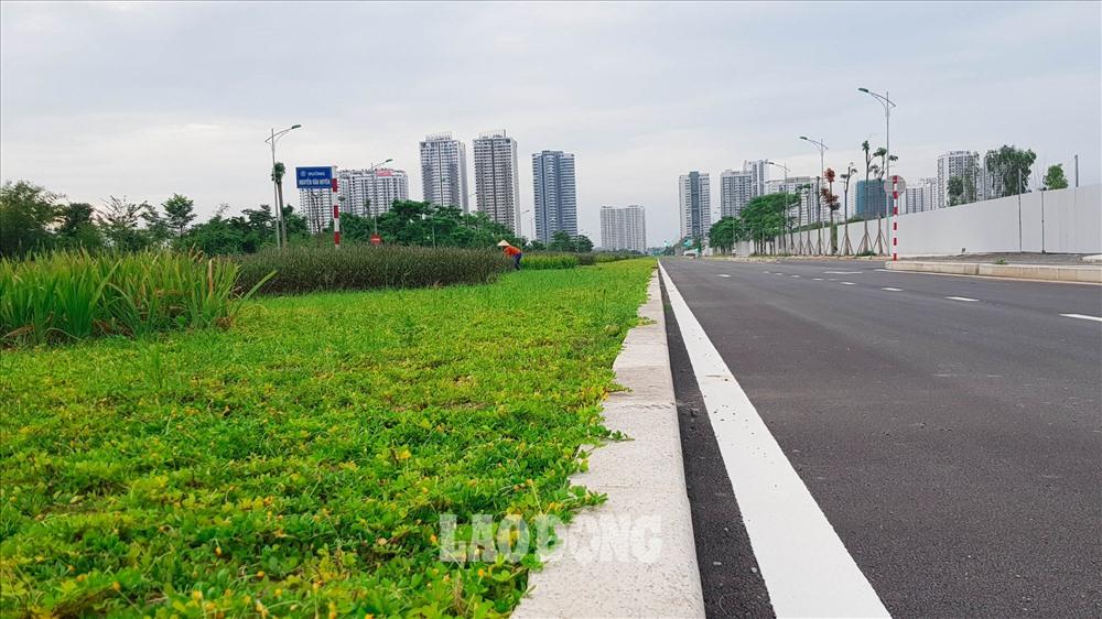 Dải phân cách giữa tuyến đường rộng khoảng 5m, nhiều đoạn đã được trồng hoa và thảm cỏ xanh.