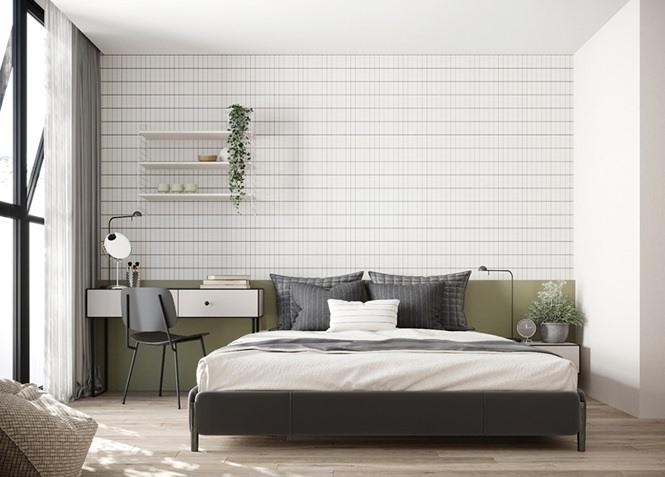 Bên trong phòng ngủ tối giản, đầu giường trang trí bằng màu xanh lá tạo sự khác biệt.