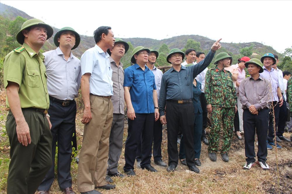 Phó thủ tướng Vương Đình Huệ về Hà Tĩnh thị sát tình hình chữa cháy rừng và động viên các lực thượng tham gia chữa cháy rừng vào ngày 1.7. Ảnh: A.Đ
