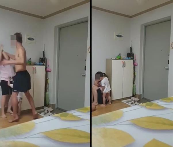 Người đàn ông Hàn Quốc đánh đập vợ dã man ngay trước mặt con nhỏ. Ảnh: Korea Times.