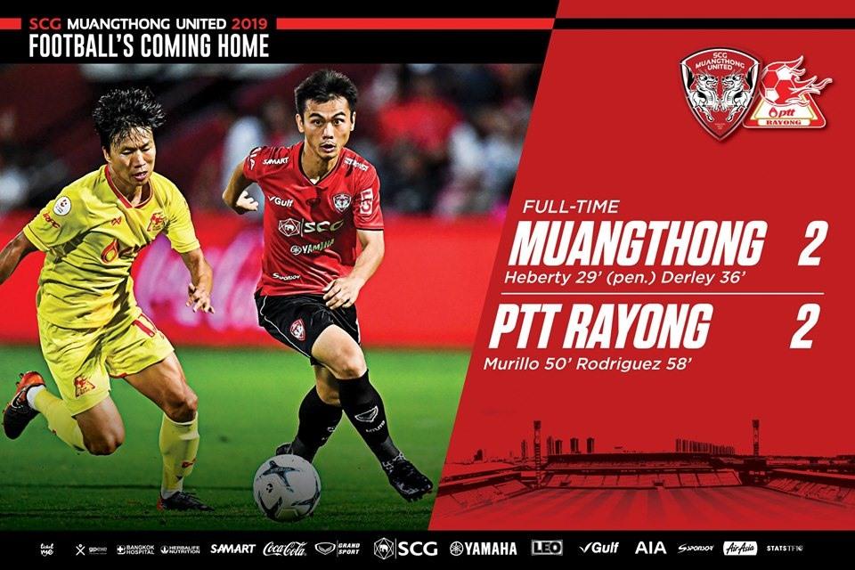 Muangthong United dẫn trước 2 bàn nhưng để đối thủ gỡ hòa chung cuộc 2-2 trên sân nhà. Ảnh: Muangthong FC