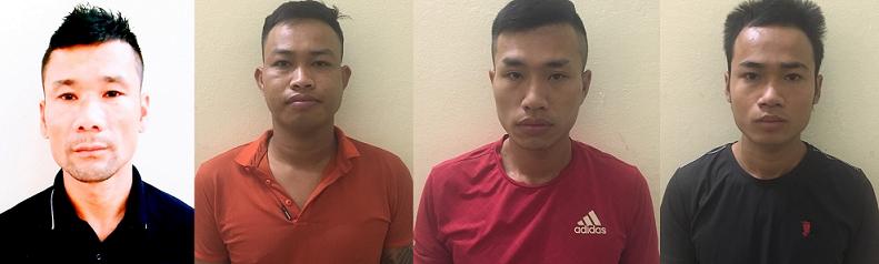Các đối tượng bị bắt giữ (từ trái qua phải) là Bùi Như Toàn; Lê Văn Tưởng; Vũ Văn Đại; Nguyễn Minh Thành.