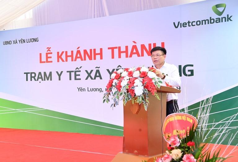 Phó Tổng Giám đốc Vietcombank Đào Minh Tuấn phát biểu tại buổi lễ. Ảnh: VCB