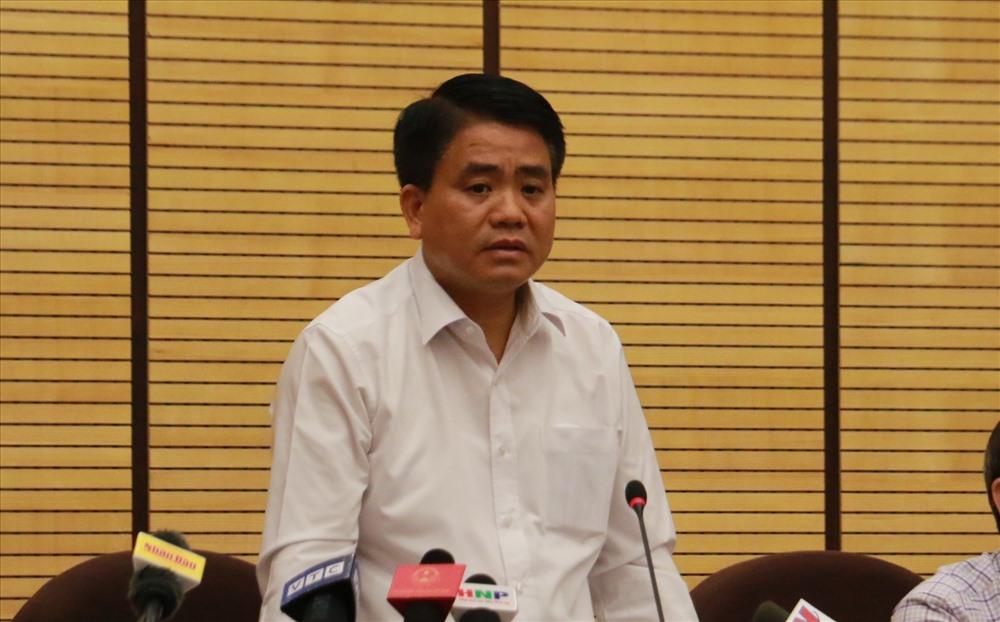 Chủ tịch UBND thành phố Hà Nội thông tin về vụ Đồng Tâm. Ảnh: NH