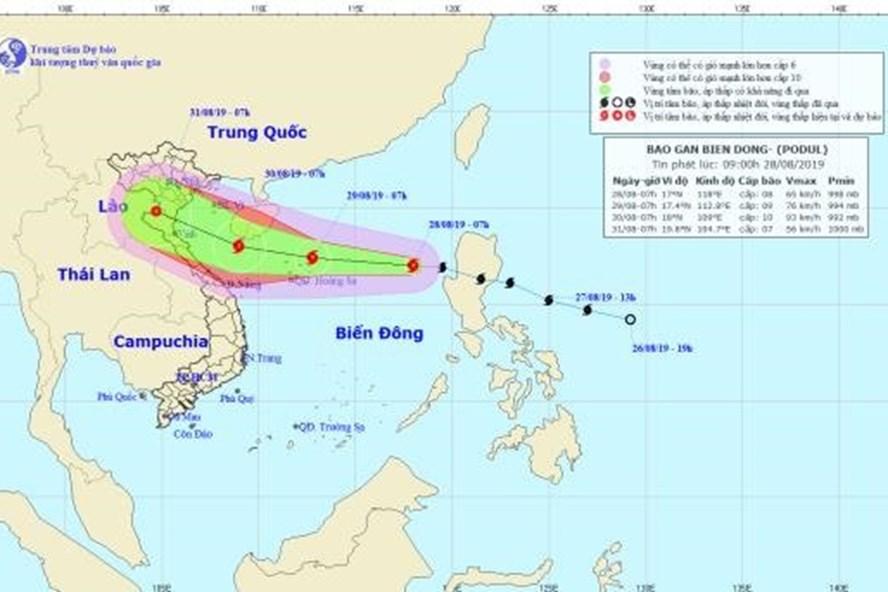 Vị trí và đường đi của bão số 4 Podul. Ảnh: nchmf.gov.vn.