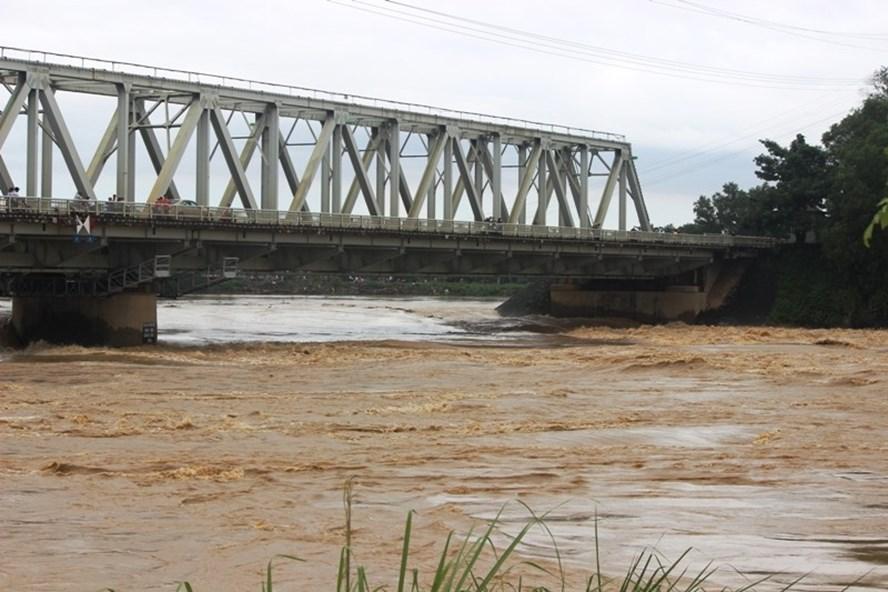 Nước sông Mã vùng hạ du bắt đầu dâng cao. Ảnh: P.T