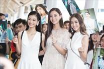 """Miss World Việt Nam Lương Thuỳ Linh và 2 Á hậu gây """"náo loạn"""" sân bay"""