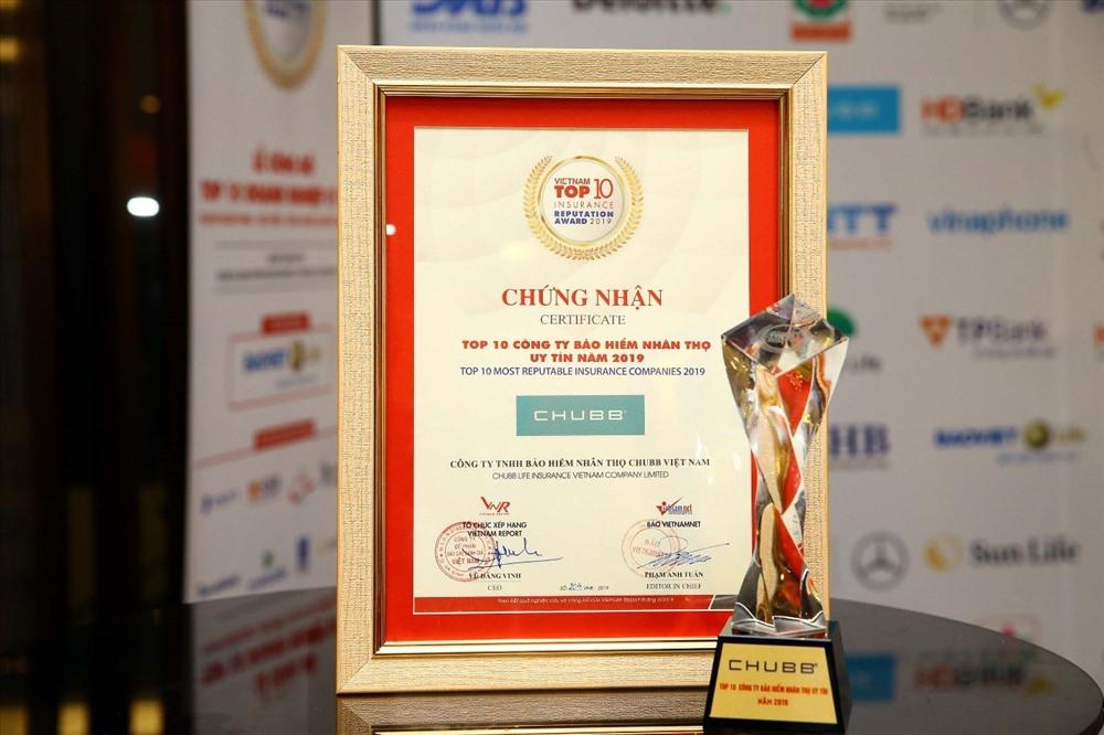 Đây là năm thứ tư liên tiếp Chubb Life Việt Nam có tên trong bảng xếp hạng Top 10 công ty bảo hiểm nhân thọ uy tín.
