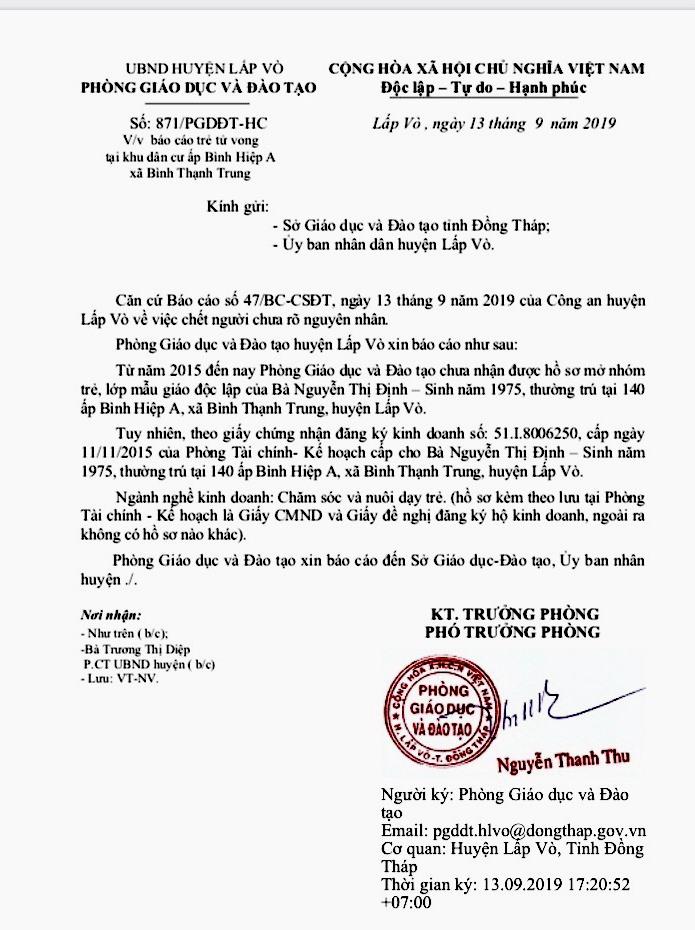 Báo cáo của Phòng GDĐT huyện Lấp Vò về vụ việc. Ảnh: LT