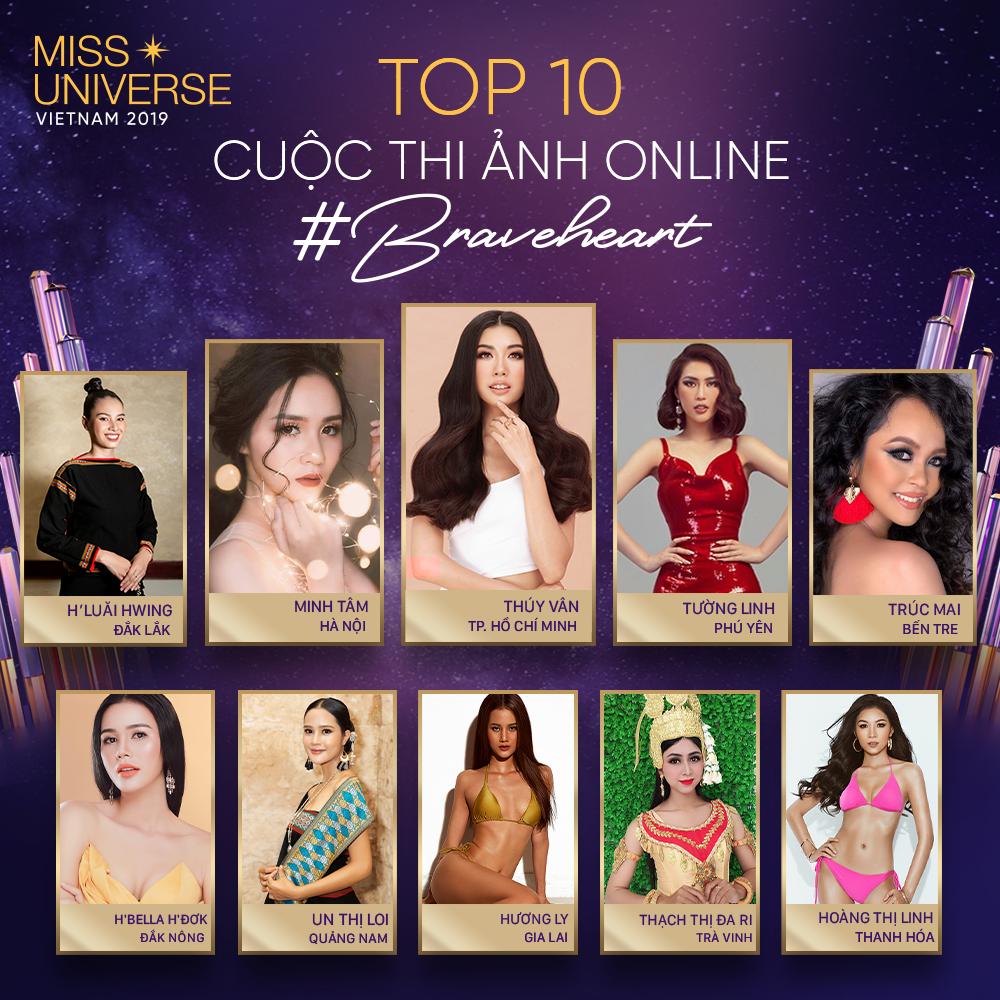 Top 10 người đẹp có lượt bình chọn từ khán giả cao nhất. Ảnh: MUVN.