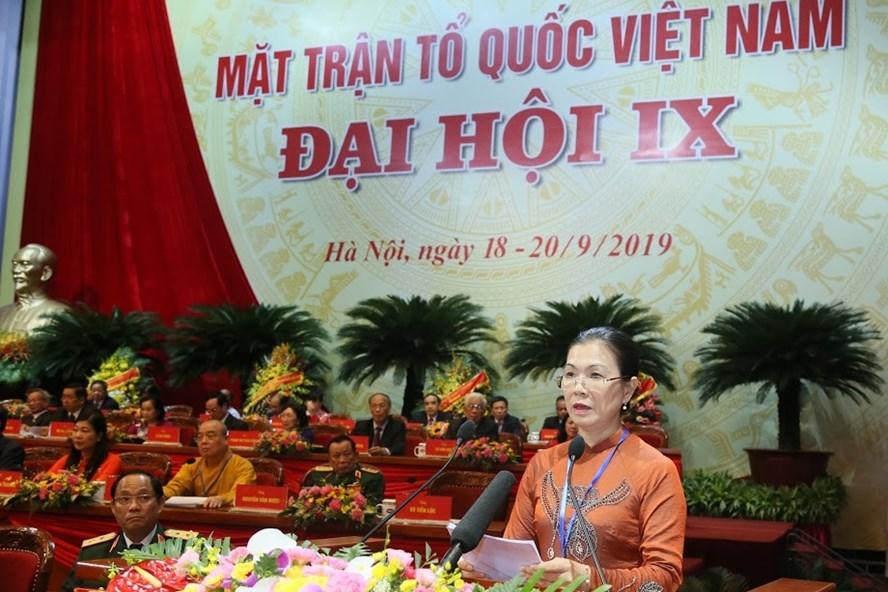 Phó Chủ tịch Uỷ ban Trung ương MTTQ Việt Nam Trương Thị Ngọc Ánh. Ảnh: Quang Vinh