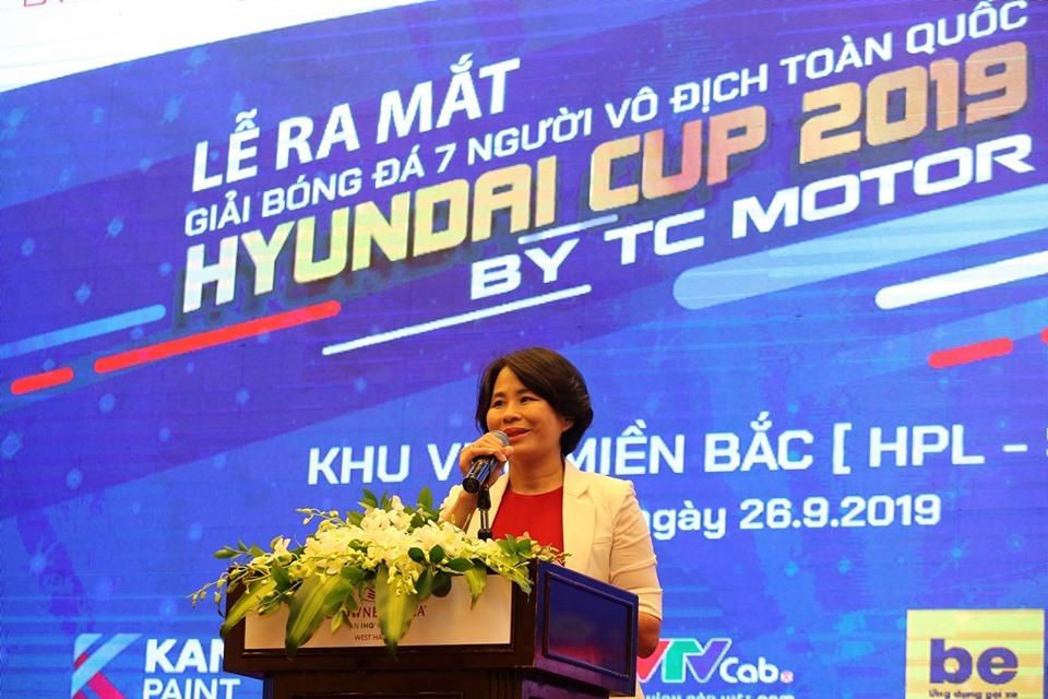 Bà Lê Thị Hoàng Yến - Phó Tổng cục trưởng Tổng cục TDTT phát biểu tại buổi lễ. Ảnh: Hải Đăng