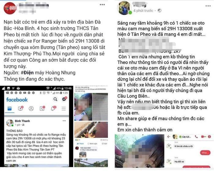 Trang mạng xã hội lan truyền  thông tin 4 nữ sinh bị bắt cóc trên chiếc xe ô tô hiệu Ford mang biển số Hà Nội