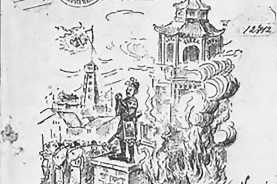 """Mô tả về Võ Tánh trên bìa sách """"Trung tiết anh hùng: Lịch sử ông Võ Tánh"""" (1930) của tác giả Huyền Mặc đạo nhân, bìa sách miêu tả cảnh Võ Tánh tự sát cuối cuộc bao vây thành Quy Nhơn."""
