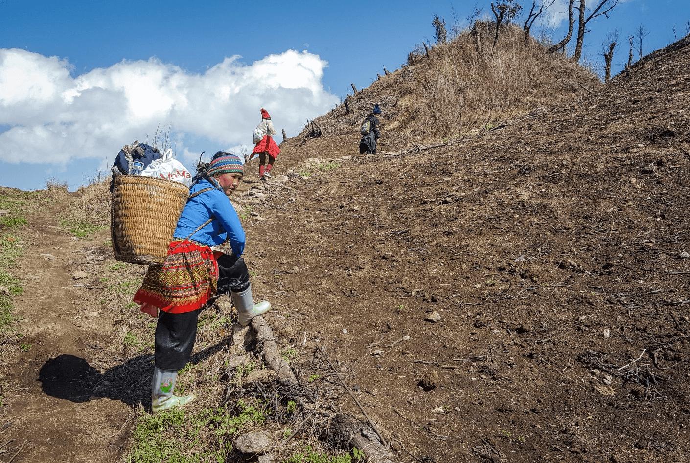 Các cô gái dân tộc thường xuyên lên và xuống núi Lảo Thẩn để làm việc và sinh sống.