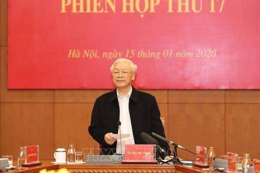 Tổng Bí thư, Chủ tịch Nước Nguyễn Phú Trọng chủ trì phiên họp 17 Ban chỉ đạo Trung ương về phòng, chống tham nhũng. Ảnh TTXVN