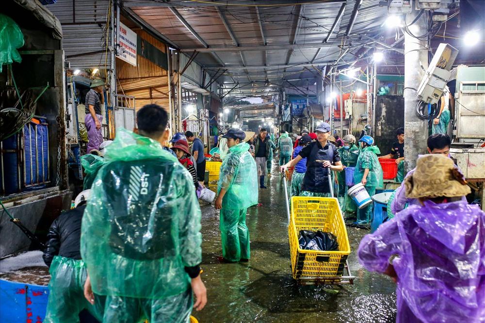 Hàng trăm tiểu thương từ các nơi cũng đến mua cá về bán lẻ tại các chợ nhỏ.